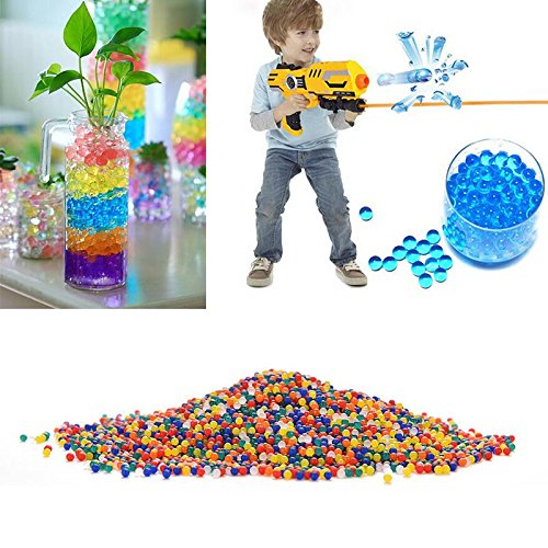 Doitsa Water Beads Sooper Beads Crystal Water Jelly Gel Bead Used for Kids Tactile Sensory Experience,Vase Filler, Soil, Plant Decoration, Bamboo Plants (Rainbow Mix)(5000 Beads)