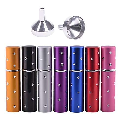 Perfume Atomizer Bottles - Purse Size Refillable Empty Perfume Atomizer 10ml Bottles 7Pcs with 2 Funnels for Travel or Outgoing Mother's Day Gift by MUB