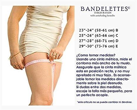 Bandelettes (bandas de encaje elástico para evitar el roce de los muslos) (C, Blanco): Amazon.es: Hogar
