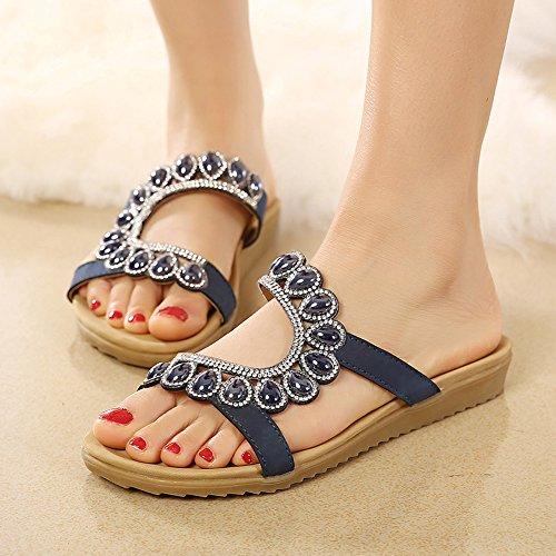 sandales plates mode à JDS Chaussures perlées de Fortuning's la Bleu wtPBI
