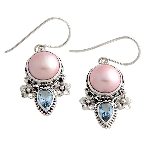 Blue Moon Freshwater Pearls (NOVICA Blue Topaz Dyed Pink Cultured Freshwater Pearl Sterling Silver Flower Earrings, 'Love Moon')