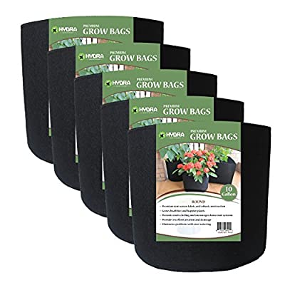 ECOgardener Grow Bags Plant Pots 5 Pack Premium Quality Raised Bed Fabric Planter