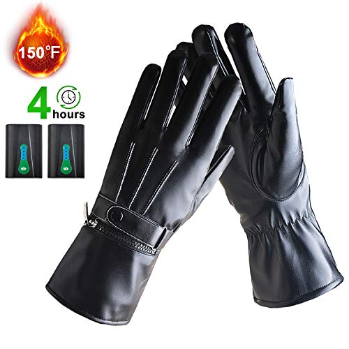 BIAL Battery Heated Touch Screen Gloves for Men Women Motorcycle Skiing Cycling Thickening Hand Warmer Leather Gloves