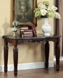 Brampton classic styling espresso finish wood sofa console entry table with faux marble top Review