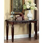 Brampton classic styling espresso finish wood sofa console entry table with faux marble top