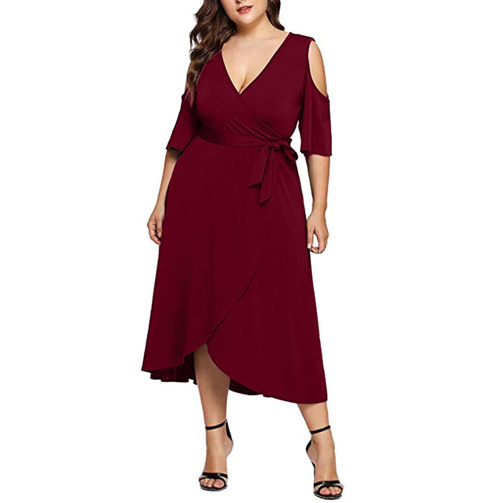 HOMEMUNI Women Casual V-Neck Dress, Ladies Off Shoulder Long Sleeve Solid Long Dress Solid Skirt Plus Size L-3XL Red