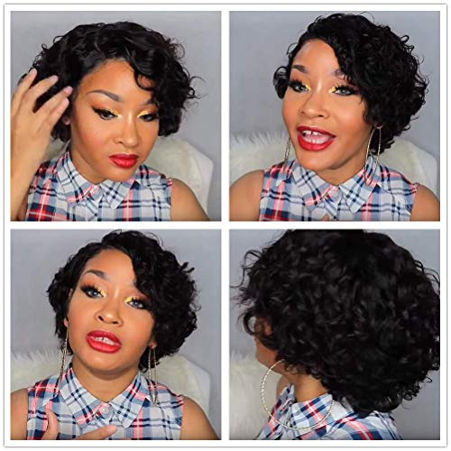 13x6 Lace Front Human Hair Wig Preplucked Short Curly Bob with Baby Hair Pixie Brazilian Virgin Human Hair Wigs for Women 150% Density 8 inch