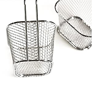 Chige Mini Fryer Basket Square Stainless Steel Present Fried Chip Food (4.1 x 3.3 x 2.5 in)
