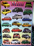 Mini Cooper history POSTER #B 23.5 x 34 Austin Morris Innocenti Rover with 20 models 1960 to 1999 (sent FROM USA in PVC pipe)