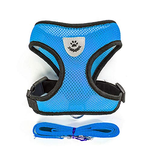 - Soft Mesh Dog Harness Vest, Large Dog Harness, Night Reflective Adjustable Mesh Harness with Padded Vest and Leash(Blue)