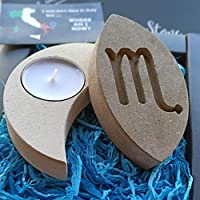 Handmade in Italy Stone Scorpio Candle Holder - Incl Box,Candle & Blank Message Card - Gift with Fossil Fragments - Birthday October November - Water Zodiac Horoscope