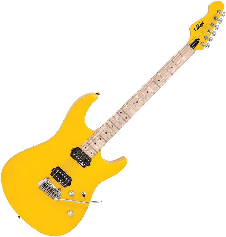 Vintage V6M24 - Guitarra eléctrica reeditada, color amarillo ...
