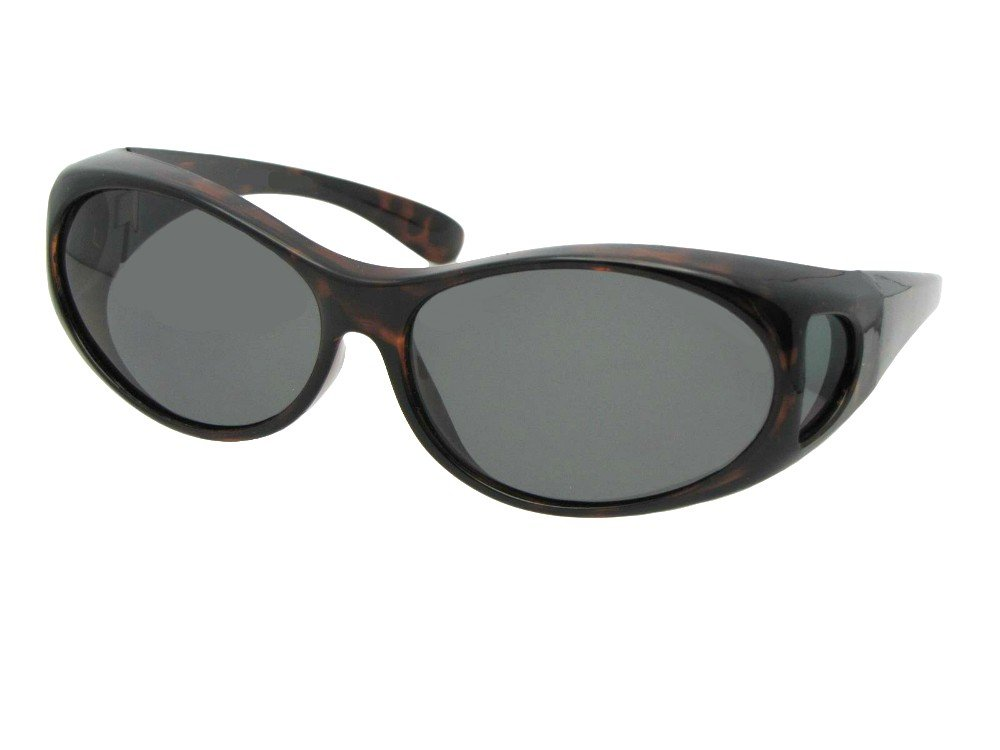 Style F3 Small Wrap Around Fit Over Sunglasses With Sunglass Rage Pouch … (Tortoise-Med Dark Gray Lens, 2 3/8)
