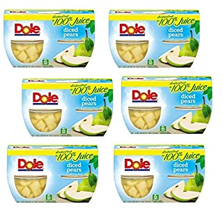 DOLE FRUIT BOWLS Diced Pears in Juice, 4 Cups (6 Pack)