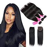 Brazilian Straight Hair Bundles with 4×4 Lace Closure Brazilian Virgin Human Hair Bundles with closure Straight Hair 3 Bundles with Closure Free Part (18 20 22+16 ) Review
