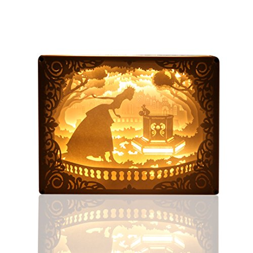 Papercut Light Boxes ( Princess and Frog ), 3D LED Shadow Box Lamp with Remote Control Dimmable, Baby Nursery Kids Bedroom Living Room. Cut Overlay Glass