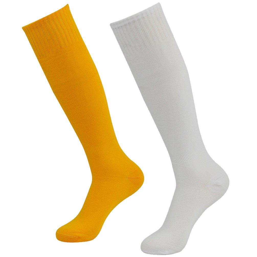 getsporユニセックスサッカーソックスチームスポーツロングチューブソックスKnee High 2 /4 /6 /12ペア B077JLM1S6White and Orange 2 Pairs