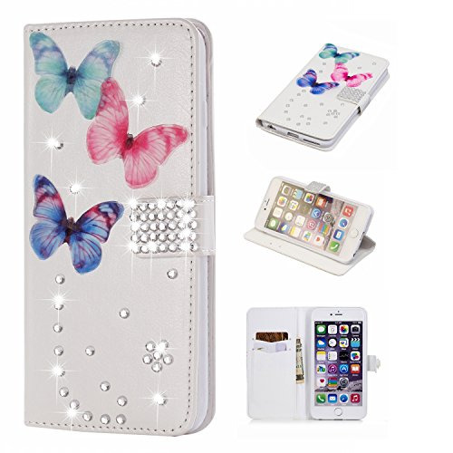 Gostyle iPhone 6 Plus Bling Diamond Wallet Case,iPhone 6S Plus Handmade 3D Shiny Glitter Crystal Rhinestone PU Leather Flip Stand Cover with Credit Card Slots Magnetic Closure,Butterfly & Gems