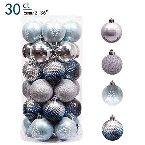 Valery Madelyn 30ct 60mm Winter Land Sliver Light Blue Shatterproof Christmas Ball Ornaments Decoration for Christmas Tree (Ice Christmas Blue Ornaments)