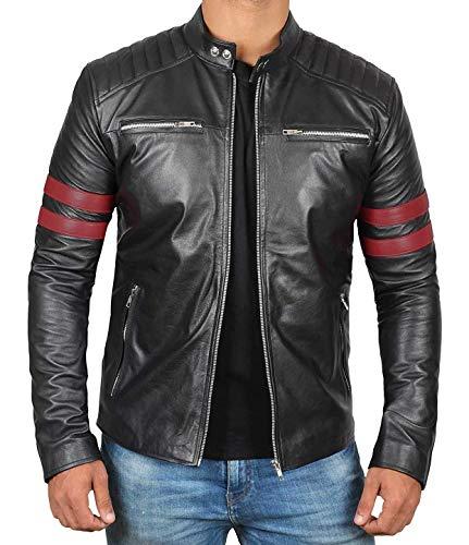 Decrum Black Snap Tab Collar Moto Leather Jacket Mens | [1100317] Hunter, XXXL
