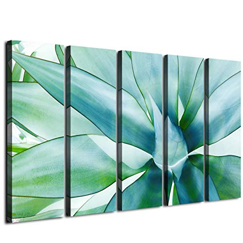 Large Wall Art Green Agave Leaves Canvas Prints Decor Tropical Plant Wood Framed Printing DéCor Posters Modern Contemporary Artwork Painting Office Homes Decorations Ready To Hang 5 Panel 60 Inch Tota
