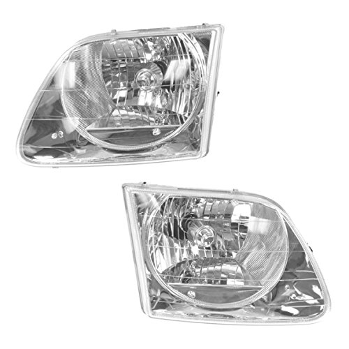 Headlights Headlamps Left & Right Pair Set for 01-03 Ford F150 Lightning Truck