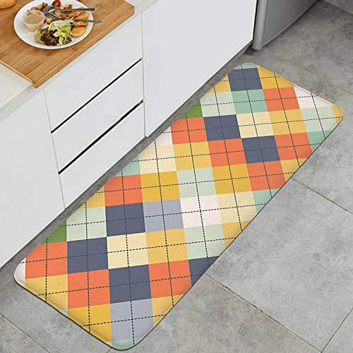 - Seamless Argyle Sweater Checkerboard Comfort Anti-Fatigue Memory Foam Long Kitchen Mat Microfiber Rubber Backing Anti-Slip Water-Absorbent Kitchen Rugs 47
