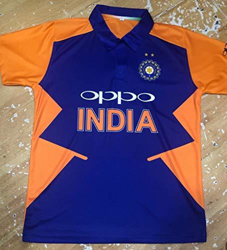 1743420ca KD Cricket Team India Away Jersey Half Sleeve Cricket Supporter T-Shirt New  Orange Team Uniform Polyster Fit Material 2019-20 (Plain,36)