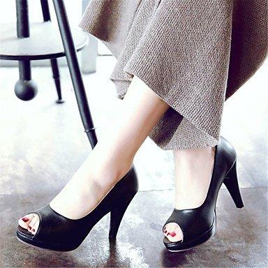Talones de las mujeres Primavera Verano Otoño Club de los zapatos de cuero oficina y carrera vestido de tacón de aguja Otros Negro Blanco Beige Otros Beige
