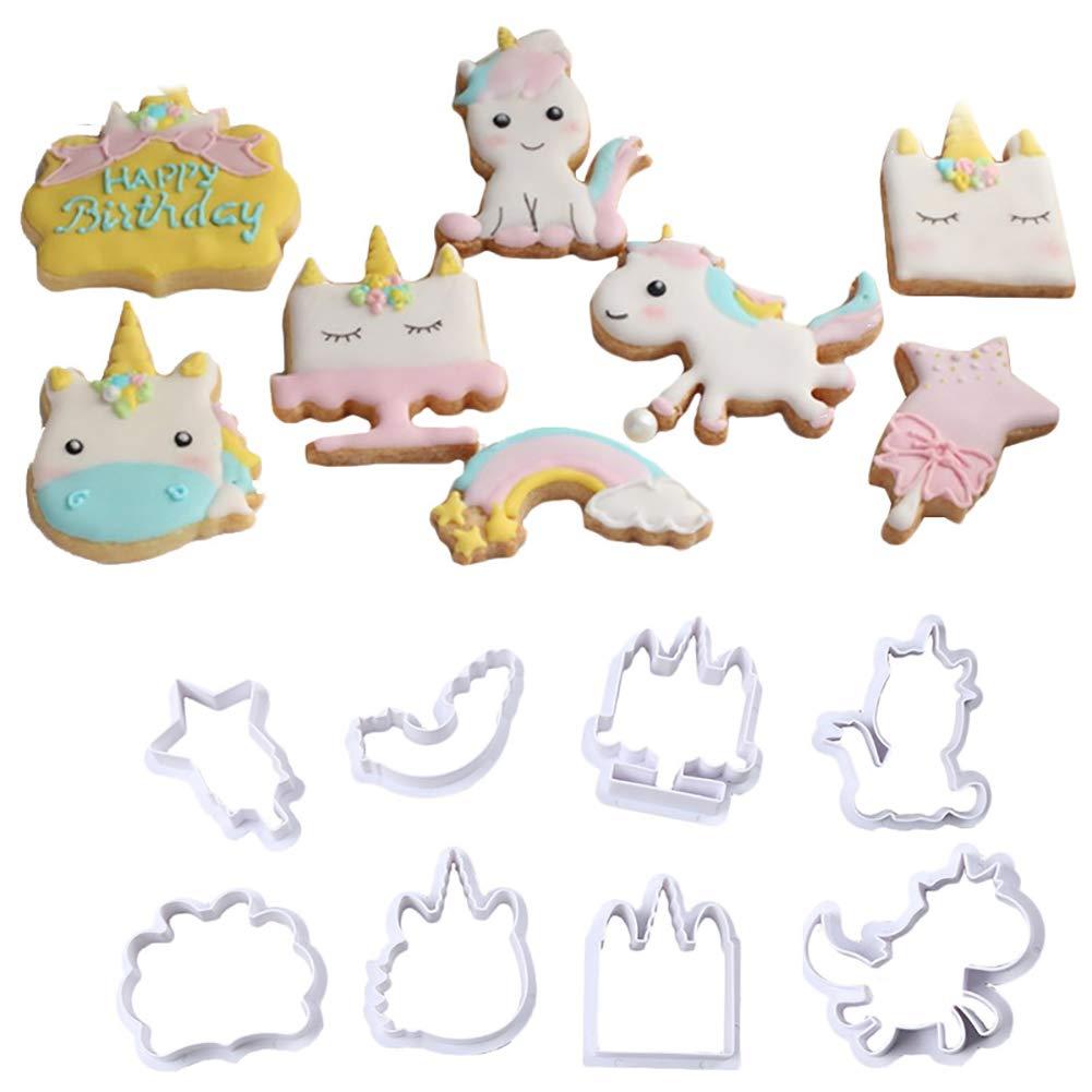 Molde de plástico de unicornio para galletas, molde de azúcar, fondant para decoración de tartas, herramienta para Navidad, 8 piezas/set small A: Amazon.es: ...