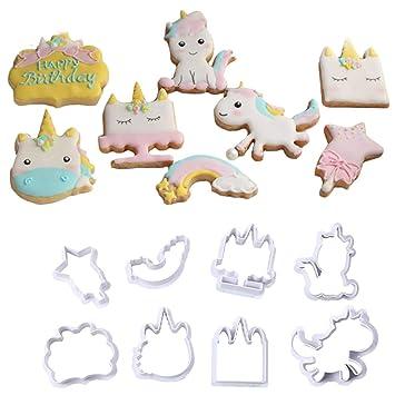 Molde de plástico de unicornio para galletas, molde de azúcar, fondant para decoración de tartas, herramienta para Navidad, 8 piezas/set small B: Amazon.es: ...
