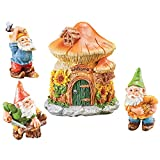 Collections Etc Hand-Painted Working Garden Gnomes with Mushroom House Set, 4 Pc