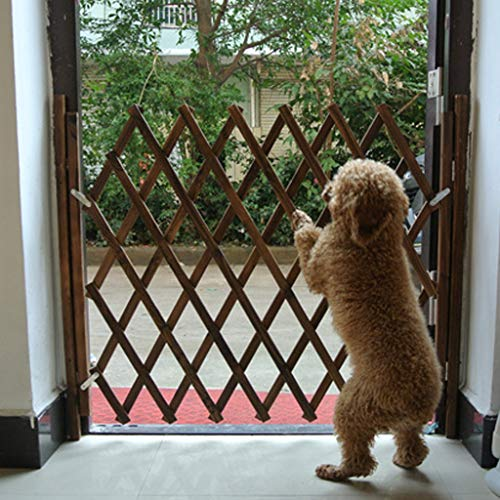- BABINANA Small Pet Wooden Fence Isolation Door Gate Guard Telescopic Safety Rail Barrier
