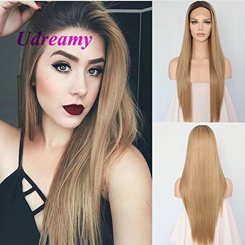 Udreamy Natural Straight Synthetic Lace Front Wig Ombre Brown To Blonde Heat Resistant Wigs For Women Christmas Party Wear 24 - Straight Inch Wig 24