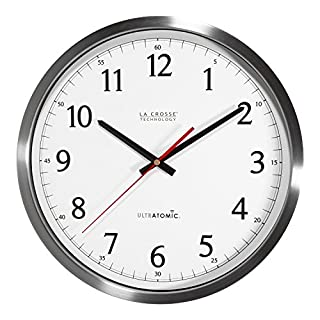 La Crosse Technology 404-1235UA-SS Ultratomic Analog Wall Clock, 14-Inch, Silver (B01CCHXTE2) | Amazon price tracker / tracking, Amazon price history charts, Amazon price watches, Amazon price drop alerts