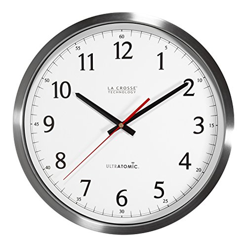 La Crosse Technology 404-1235UA-SS 14 Inch UltrAtomic Analog Stainless Steel Wall (Analog Time Zone Clock)