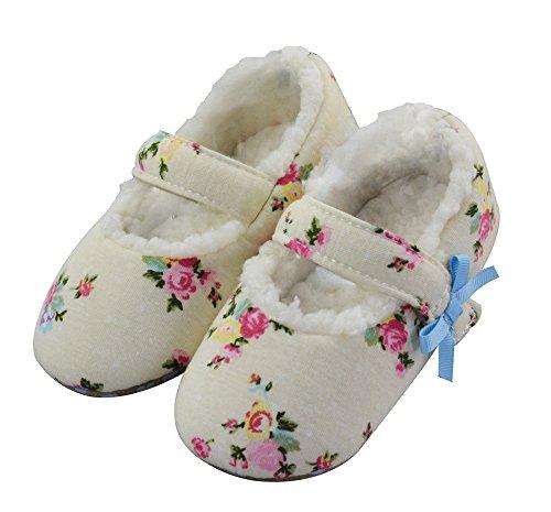 LA PLAGE Girl's Comfy&Soft Cute Flower Upper Ballerina Slippers (Toddler/Little kid)