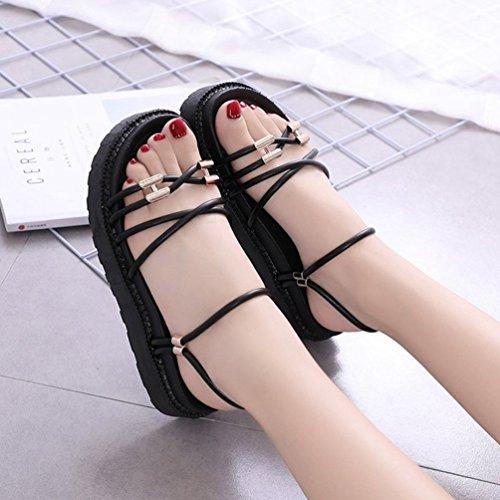 Sangles Sandales Été JITIAN Plateforme Slip Tongs Noir Plage Chaussures Femmes Casual Claquettes on Mules 6rnnYRxW