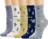 5 Pairs Women's Crew Socks Casual Fun Cute Cacti Socks Funny Novelty Ladies Gifts for Women Ladies Children Gift Girls Cotton Socks WCS1-Cactus