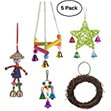 Pack of 5 Bird Chew Toys with Bells Wood Bird Swing Parrot Perch Stand for Budgie Parakeet Cockatiel Conure Lovebird Finch Canary Cockatoo African Grey Eclectus Amazon Cage Supplies Accessories