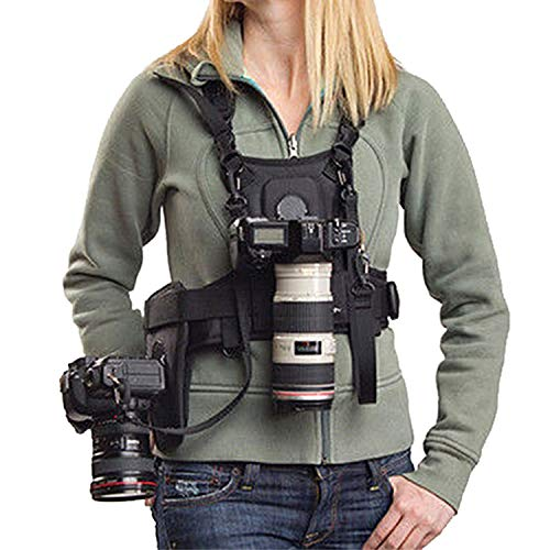 Dual Camera Harness, Micnova MQ-MSP01 Multi Carrying Chest Vest System with Side Holster for Canon 6D 600D 5D2 5D3 Nikon D90 Sony A7S A7R A7S2 Panasonic Olympus DSLR Cameras Climbing Wedding Travel - Olympus E-system Travel Bag