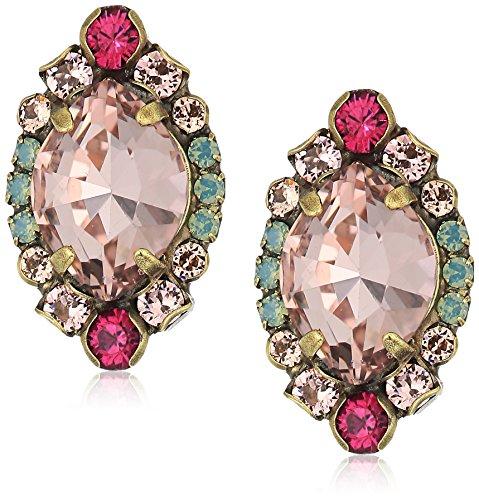 Sorrelli Womens Radiant Sunrise Navette Clustered Stud Earrings, Pink, 1