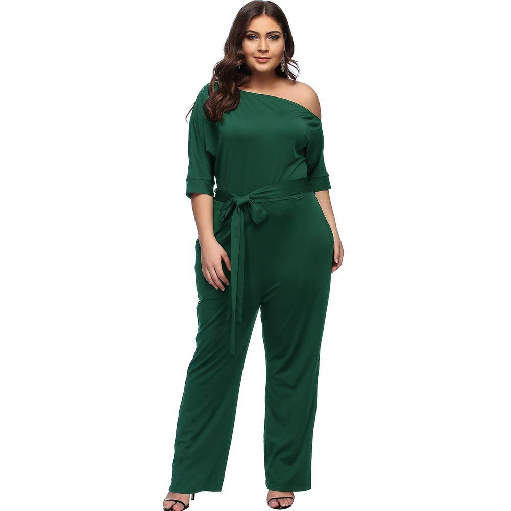 Desirepath Women Jumpsuits Elegant Plus Size Sexy Slash Neck Half Sleeve Wide Leg Long Pants (3XL, Green)