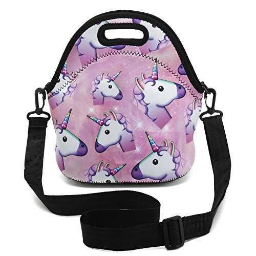 Insulated Neoprene Lunch Bag Removable Shoulder Strap Reusable Thermal Thick Lunch Tote Bags For Women,Teens,Girls,Kids,Baby,Adults-Lunch Boxes For Outdoors,Work,Office,School (Many Unicorns) by HAPPYLIVE SHOPPING (Image #7)