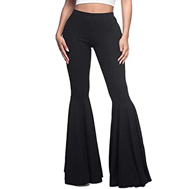fce232429e GUOLEZEEV Women High Waisted Flare Pants Solid Color Fashion Pleated Bell  Bottoms S Black