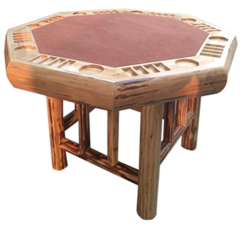 Delightful Rush Creek Creations Rustic Log 8 Player Octagon Poker Table