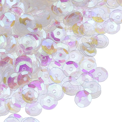 Blulu Crystal Iridescent Cupped Sequins Craft Cupped Sequins Bulk Loose Cupped Sequins, 6 mm, 50g