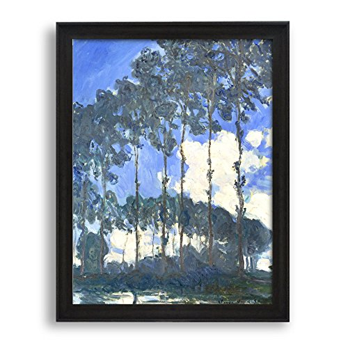 Framed Art Poplars on the River Epte by Claude Monet Famous Painting Wall Decor Dark Coffee Brown Frame