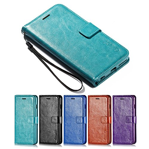 Price comparison product image iPhone 6S Plus Case, iPhone 6 Plus Case, [5.5 Inch] HLCT PU Leather Case, With Soft TPU Protective Bumper, Built-In Kickstand, Cash And Card Pockets (Teal)