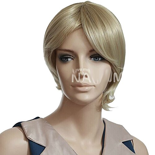 [FCL Sweet Bob Women Short Light Blonde Synthetic Hair Wig Curly Wigs] (Halloween Costume Wearing Overalls)